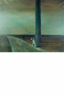 Camino en el campo con árbol y perro